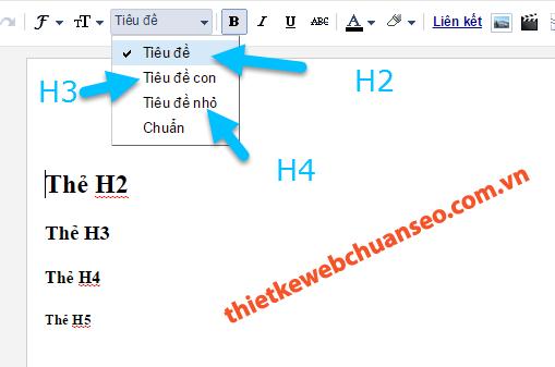 Cách đặt thẻ h1 và h2